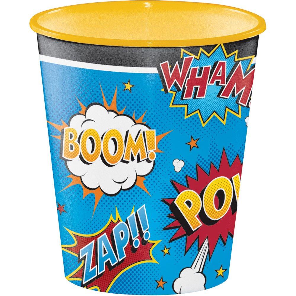 Creative Converting Plastic Cups, 12 oz, Superhero Slogans (12-Count)