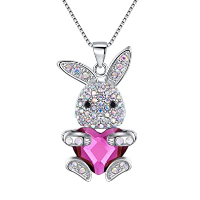 4a4402e25 EleQueen Easter Day Women's Silver-Tone Pink Bunny Heart Pendant Necklace  Adorned with Swarovski Crystals