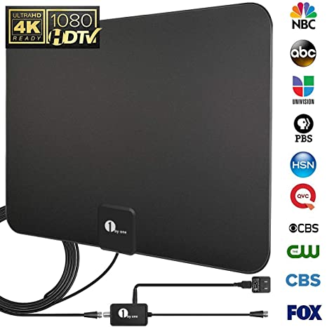 [Upgraded 2019] 1byone Digital Amplified Indoor HD TV Antenna Up to 80  Miles Range, Amplifier Signal Booster Support 4K 1080P UHF VHF Freeview  HDTV
