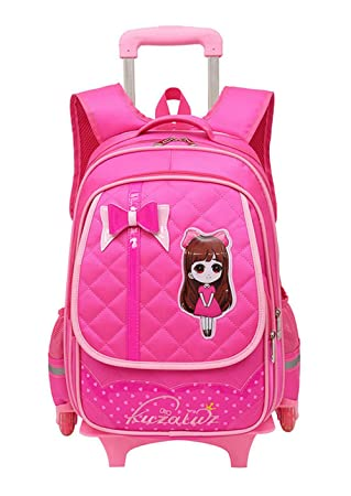 a514b09112 Fanci Cute Bowknot Waterproof Rolling School Bag Backpack on Wheels  Princess Style Trolley Wheeled Backpack Carry
