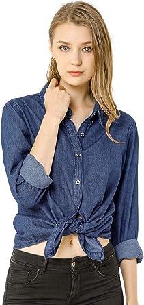 Allegra K Camisa Vaquera Manga Larga Botón Arriba Suelto Clásico para Mujer: Amazon.es: Ropa y accesorios