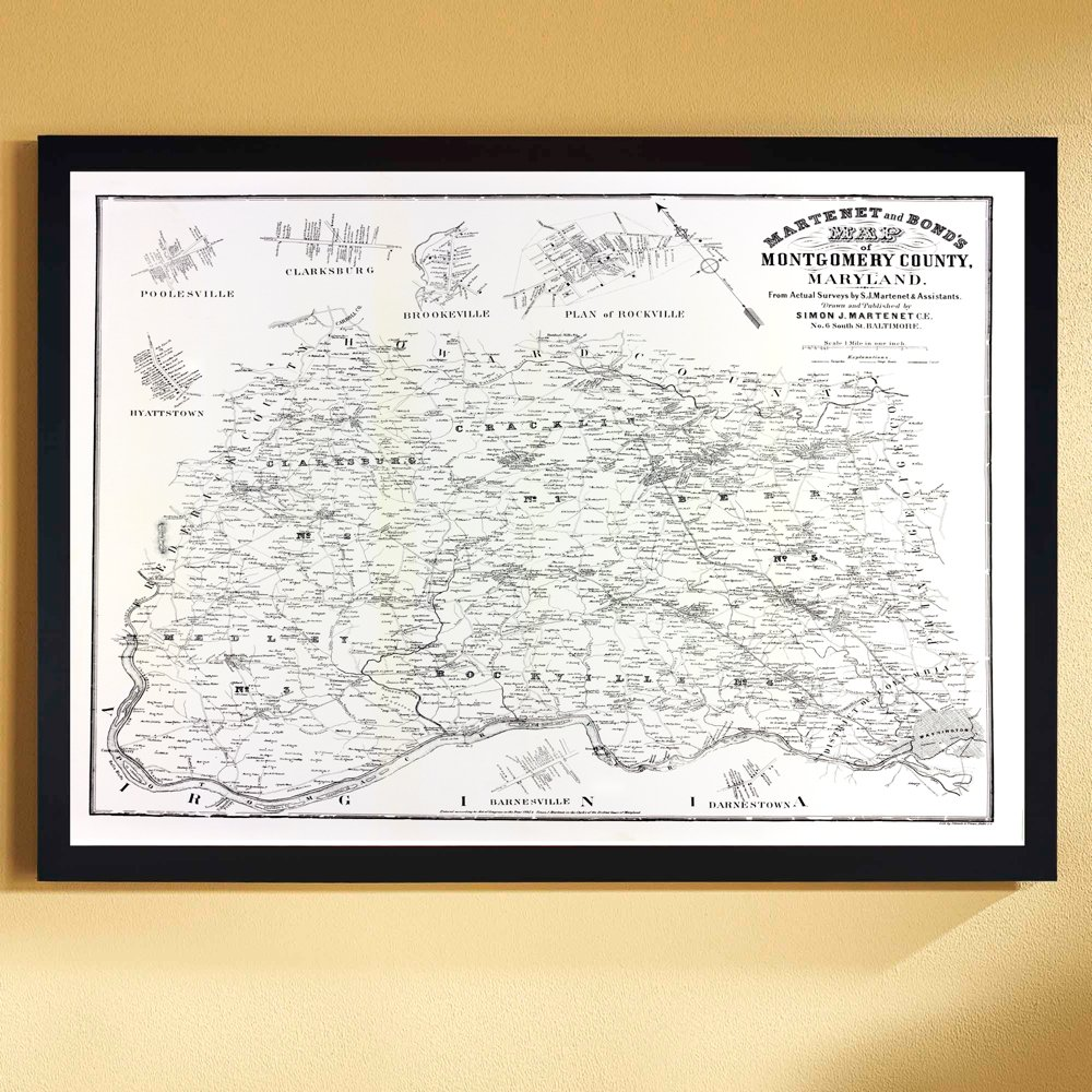 Amazon.com: Decorator Maps & Prints Montgomery County ... on map of maryland's congressional districts, map of maryland's town, map of maryland's state parks, state of maryland counties, map of maryland's rivers, map of md,