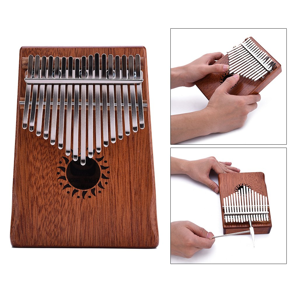 17 Key Mahogany Kalimba Thumb Piano Mbira, Walter Thumb Piano Beginner Set with How To Play Kalimba, Tuner Hammer, Carrying Bag & Songbook Telisii