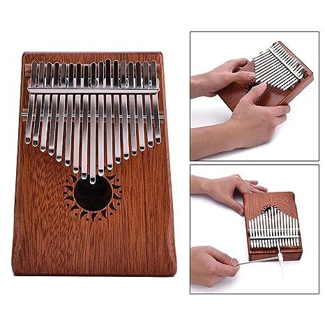 Amazon com: 17 Key Mahogany Kalimba Thumb Piano Mbira