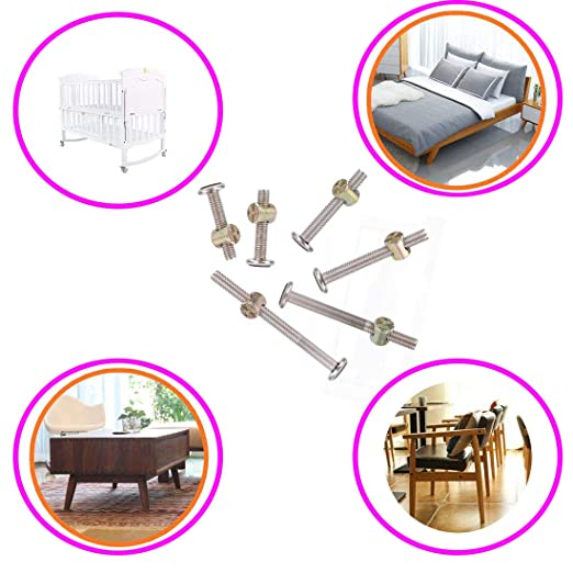 SpzcdZa M6x10//20//30//40//50 50pcs Crib Hardware Screws Stainless Steel Hex Drive Socket Cap Furniture Barrel Screws Bolt Nuts Assortment Kit for Furniture Cots Beds Crib and Chairs with 1 Wrenches
