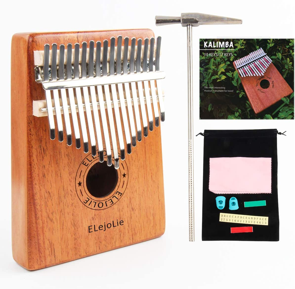 Portable Finger Piano Mbira with Study Instruction and Tune Hammer
