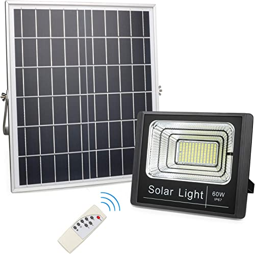 60W Solar Flood Light Outdoor, 256 LEDs 2,700 Lumens Solar Powered Street Lights, IP67 Waterproof Remote Control Security Lighting Dusk to Dawn for Yard, Garden, Lawn, Flag Pole, Farm, Barn, Pathway