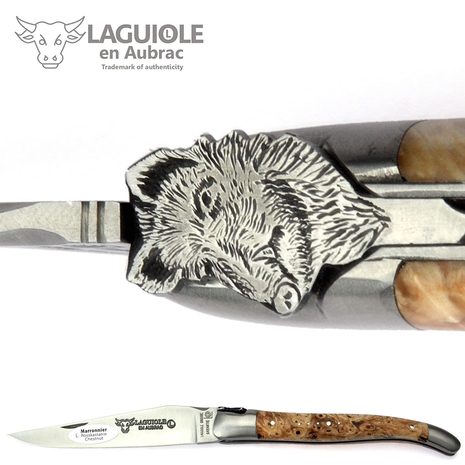 Laguiole en Aubracハンドメイドフレンチナイフ – 12 cm – Special Edition Wild Boar – Horse Chestnut Handle – Blade And Bolstersステンレススチール B01NCUTMMN