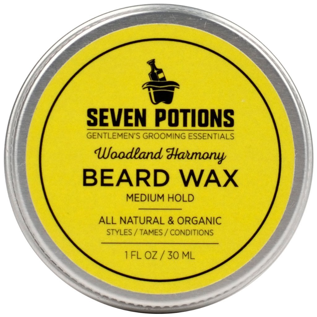 Beard Wax 30 ml. All Natural, Organic Beard Styling Wax For Medium Hold. Shape And Nourish Your Moustache and Beard While Looking Natural. Doesn't Make The Beard Stiff (Woodland Harmony) Seven Potions SP0008BWWH30