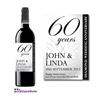 Personalised 60th Diamond Wedding Anniversary Wine Bottle Label Gift for Women and Men