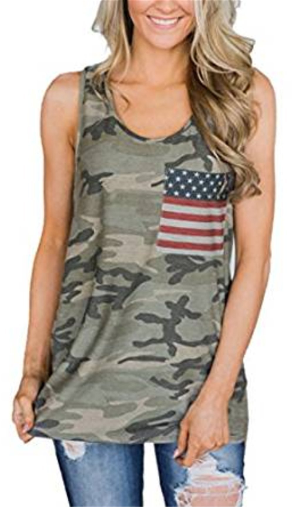 BANGELY Womens Camouflage Casual Racerback Tank Tops American Flag Print Sleeveless Camo Vest Shirts Size Medium (Green)