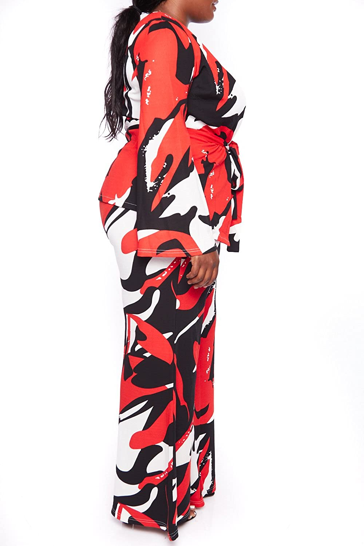Womens Plus Size Open Front Multi Print Blazer Bell Bottoms Pants Set 663X