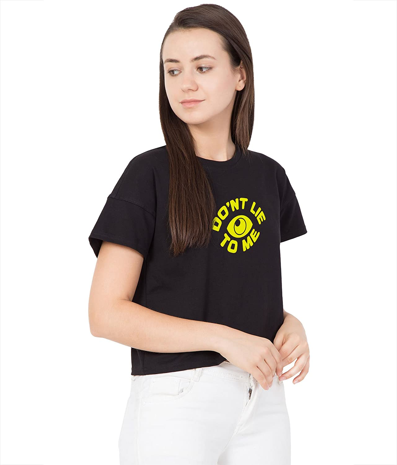 4c44650bd9e7b Haoser Women s Black Cotton Today Text Printed Crop Top  Amazon.in   Clothing   Accessories