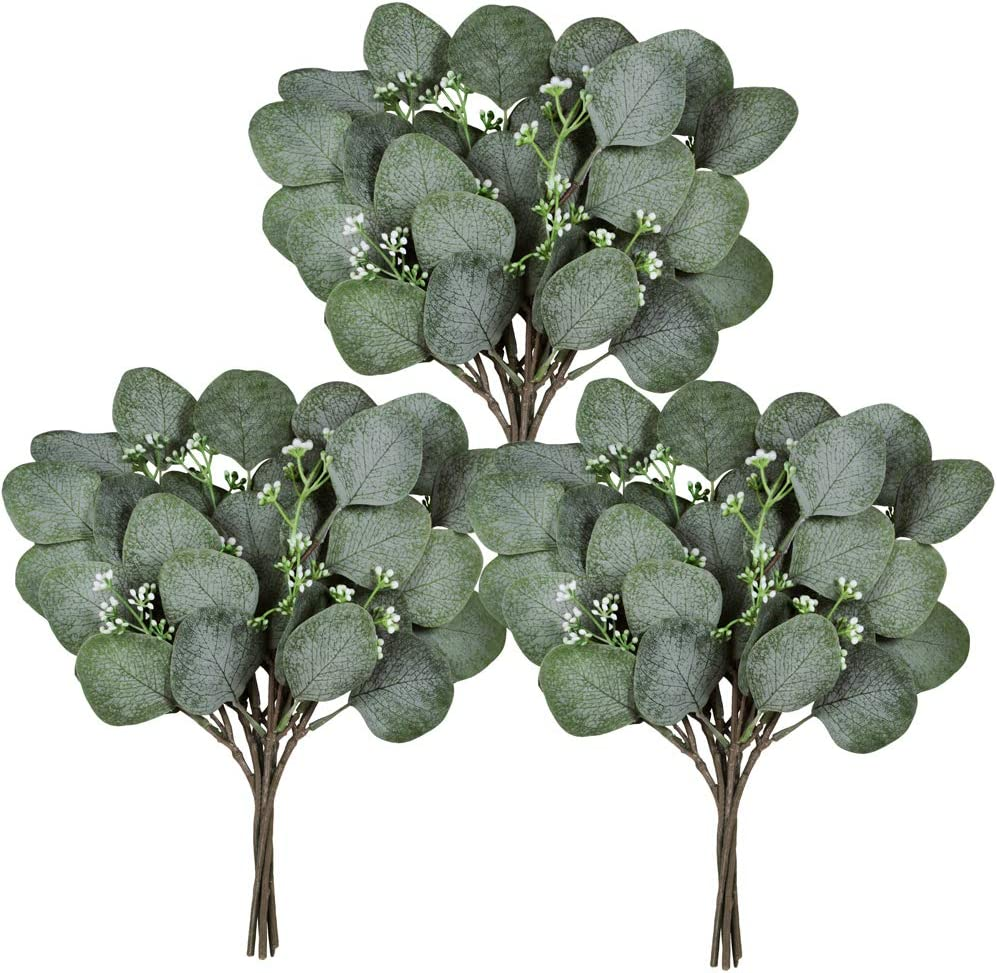Winlyn 18 Pcs Seeded Eucalyptus Leaves Stems Bulk Artificial Greenery Faux Face Silver Dollar Eucalyptus Plant Branches for Vase Floral Arrangements Centerpieces Bouquets Wedding Holiday Greens Decor