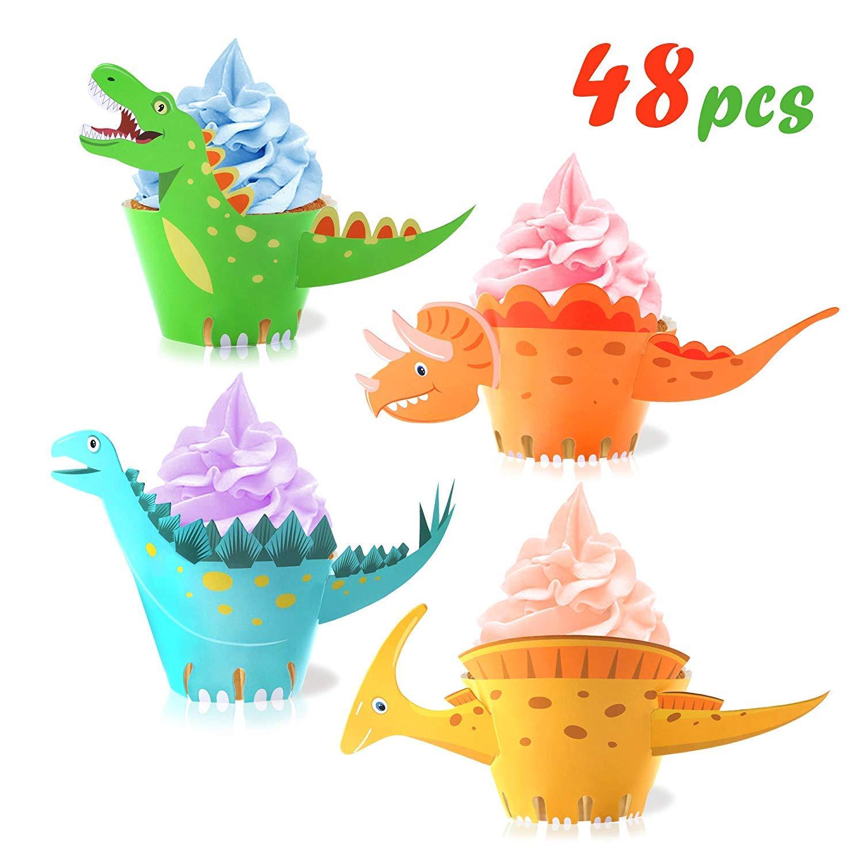 decorazioni per la tavola per feste di compleanno per ragazzi e bambini Pirottini per cupcake a forma di dinosauro confezione da 48 pezzi