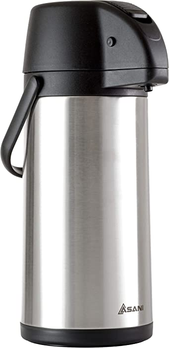 Thermal Coffee Airpot Carafe (101oz) | 17-Cup Insulated Thermos with Pump Beverage Dispenser | 20-Hour Hot and Cold Insulation | Stainless Steel Urn for Tea, Water, Coffee, Iced Drinks