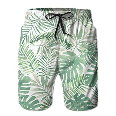 eb0e7f1515 Amazon.com: Summer Beach Palm Tree Leaves Boardshorts Beach Shorts Swim  Trunks Men Swimsuit: Clothing