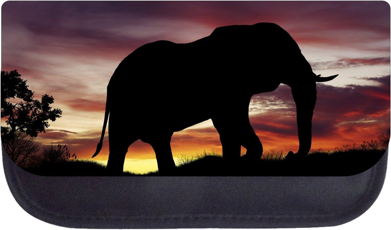 Elephant Sunset Silhouette Black School Backpack /& Pencil Bag Set