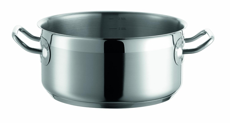 Domestic Professional Josef Mäser 811002 - Cazuela (20 cm, acero inoxidable 18/10, 0,7 mm, apta para inducción, escala de litros)