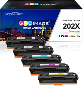 GPC Image Compatible Toner Cartridge Replacement for HP 202X 202A CF500X CF500A to use with Laserjet Pro MFP M281fdw M254dw M281cdw M281 M281dw M280nw Toner Printer (5 Pack)