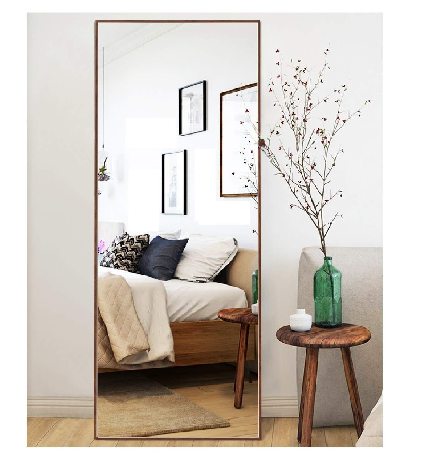 Crossrobbin Thin Frame Floor Mirror Dark Brown 65x22