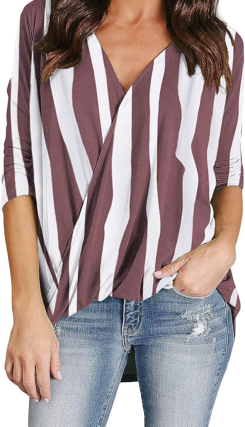 SERAPHY Camicia da Donna Camicetta con Orlo a Ritorto Irregolare Camicia a Righe Scollo a V Mezza Manica Office Work Chic Top Tunica