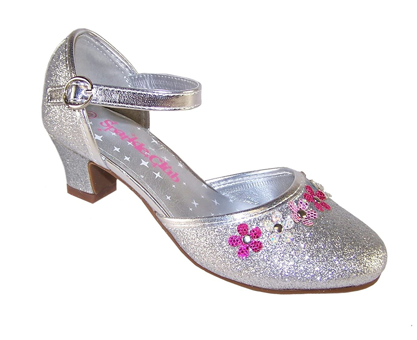 808467c469d Girls silver glitter low heeled party shoes
