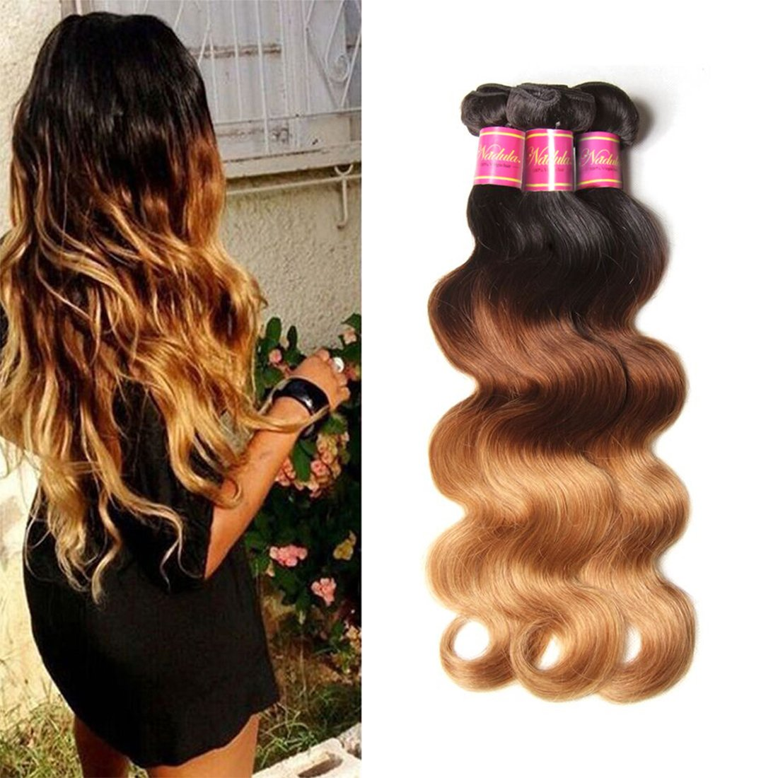 Nadula 7A Grade Brazilian 3 Tone Ombre Color 1B/4/27# Body Wave Hair 3 Bundles Cheap Brazilian Virgin Human Hair Products 100+/-5g/pcs Weave Extensions Natural Color (16 18 20)