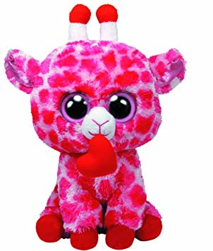 3a62479628d Ty Beanie Boos Jungle Love Giraffe in Pink with Heart 23 cm  Amazon ...