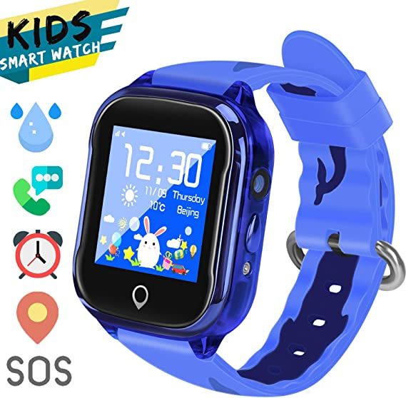 LTAIN Kids Smart Watch Waterproof Phone Smartwatch for Children Anti-Lost GPS Tracker Phone Watch with 1.44 inch Touch Screen SOS Canera Timer Game ...