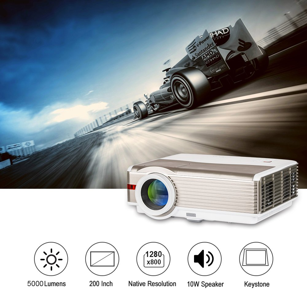 Eug Wxga Lcd Hd Video Projector Outdoor Movie Theater Full Hd 1080p Support 5000 High Lumen Multimedia Led Projectors For Computer Laptop Xbox Tv Box, Hdmi Usb Vga Audio Built In Speaker by Amazon