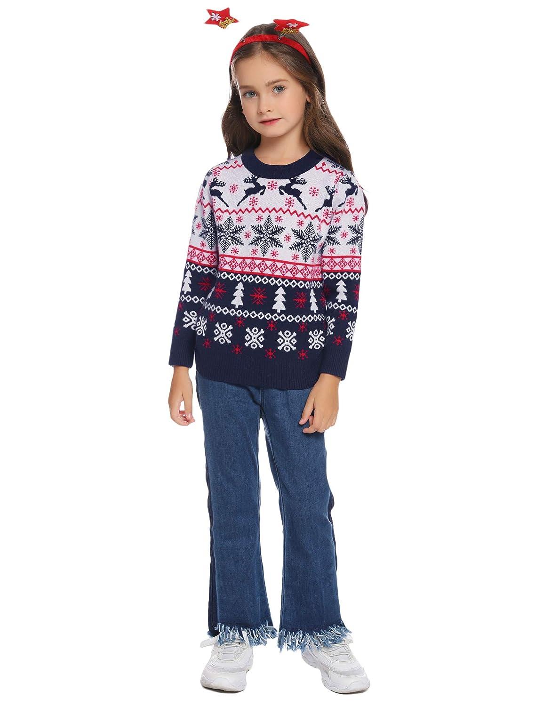 Hawiton Su/éter de Navidad ni/ños ni/ñas Jersey de Punto ni/ño Jerseys de Punto para ni/ños con Cuello Redondo Manga Larga,Jersey de Navidad para ni/ño ni/ña