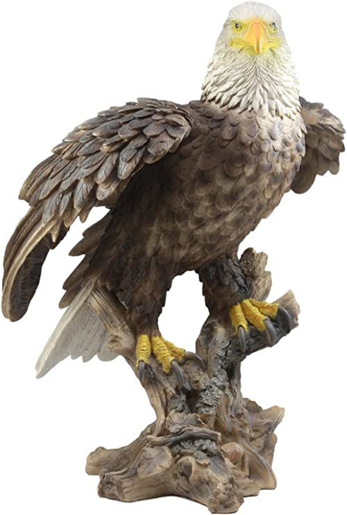 Large Wings Of Glory Perching Grand Bald Eagle Statue Home Garden Decor Figurine