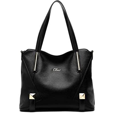 CLUCI Genuine Leather Handbags Designer Top-handle Tote Shoulder ...