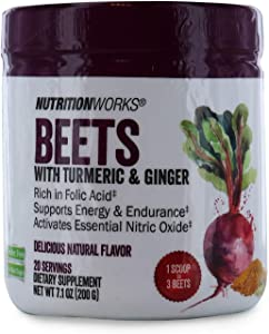 Nutrition Works Beets with Turmeric & Ginger. Gluten Free, No Added Sugar. Supports Energy & Endurance. Dietary Supplement. 20 Servings 7.1 oz