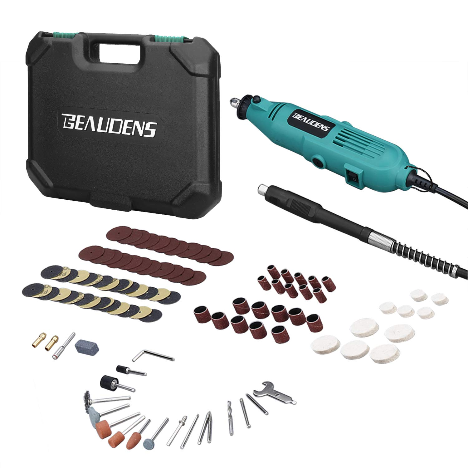 BEAUDENS Rotary Tool Kit with Flex Shaft, 100 Multifunctional Accessories, 6 Adjustable Speed, Solid Carrying Case and 2 Year Warranty for DIY Professionals