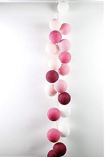 Dark Red Pale Pink Cotton Ball Lights Rosegarden 10 LED Lichterkette mit USB Anschluss Baumwolle Shell Dirty Rose