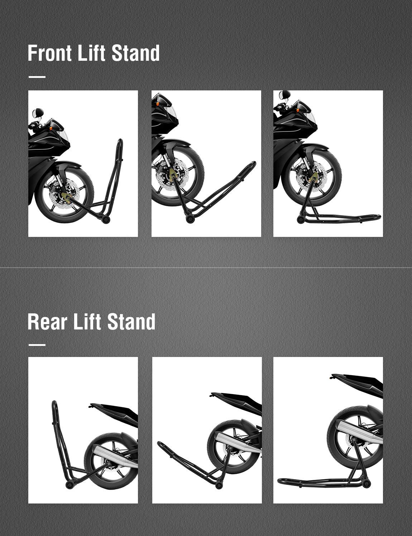 Universal Sport Bike Wheel Lift Stand Swingarm Fork Stands Fits Yamaha Honda Kawasaki Ducati BMW for Auto Bike Maintenance kealive Motorcycle Paddock Front /& Rear Combo 1 Pair-Black