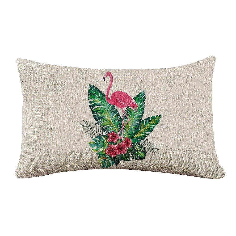 yilooomコットンキャンバス長方形枕カバーヴィンテージFlamingo Floralランバーサポート枕カバーCases 12 x 18インチ 12x24 lumbar pillow covers#YJBZZF-3-03 B0772VHSRR マルチ 12x24