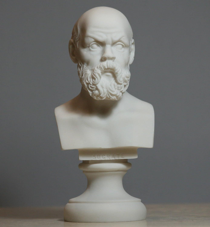 Greek Philosopher Socrates Alabaster Bust Head Statue Sculpture Décor 5.9΄΄