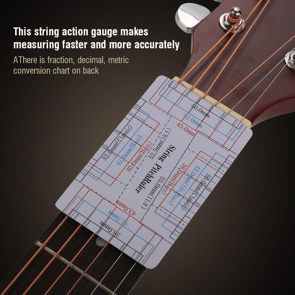 Herramienta Guitarra Cuerdas de Acción Regla, 2Pcs Doble Cara Guitarra Diapasón Fretboard Medición Herramienta con Impresión Limpia para Guitarra Bajo: ...