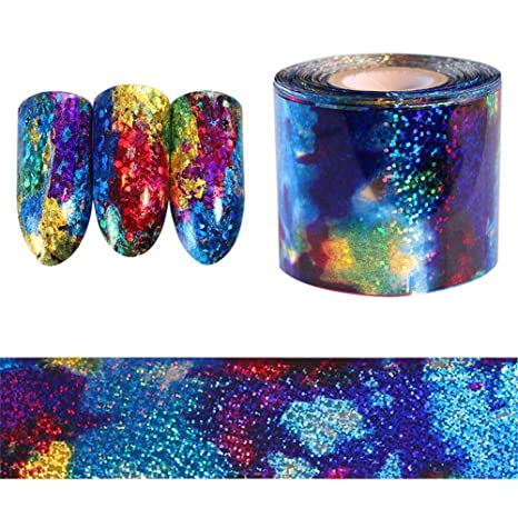 Yapthes 1set Starry Sky Shell Nail Foils Colorful Nail Transfer