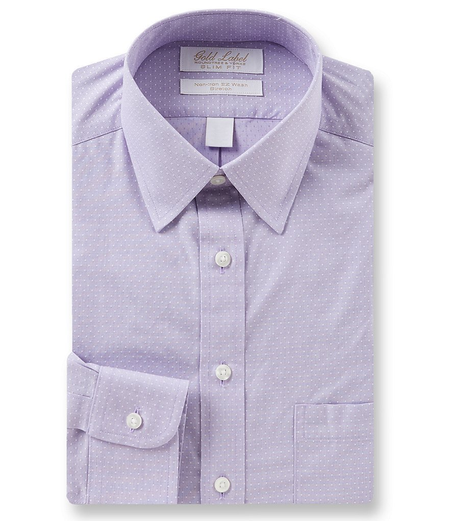 Gold Label Roundtree /& Yorke Non-Iron Slim-Fit Spread Collar Dress Shirt S75DG340 Navy