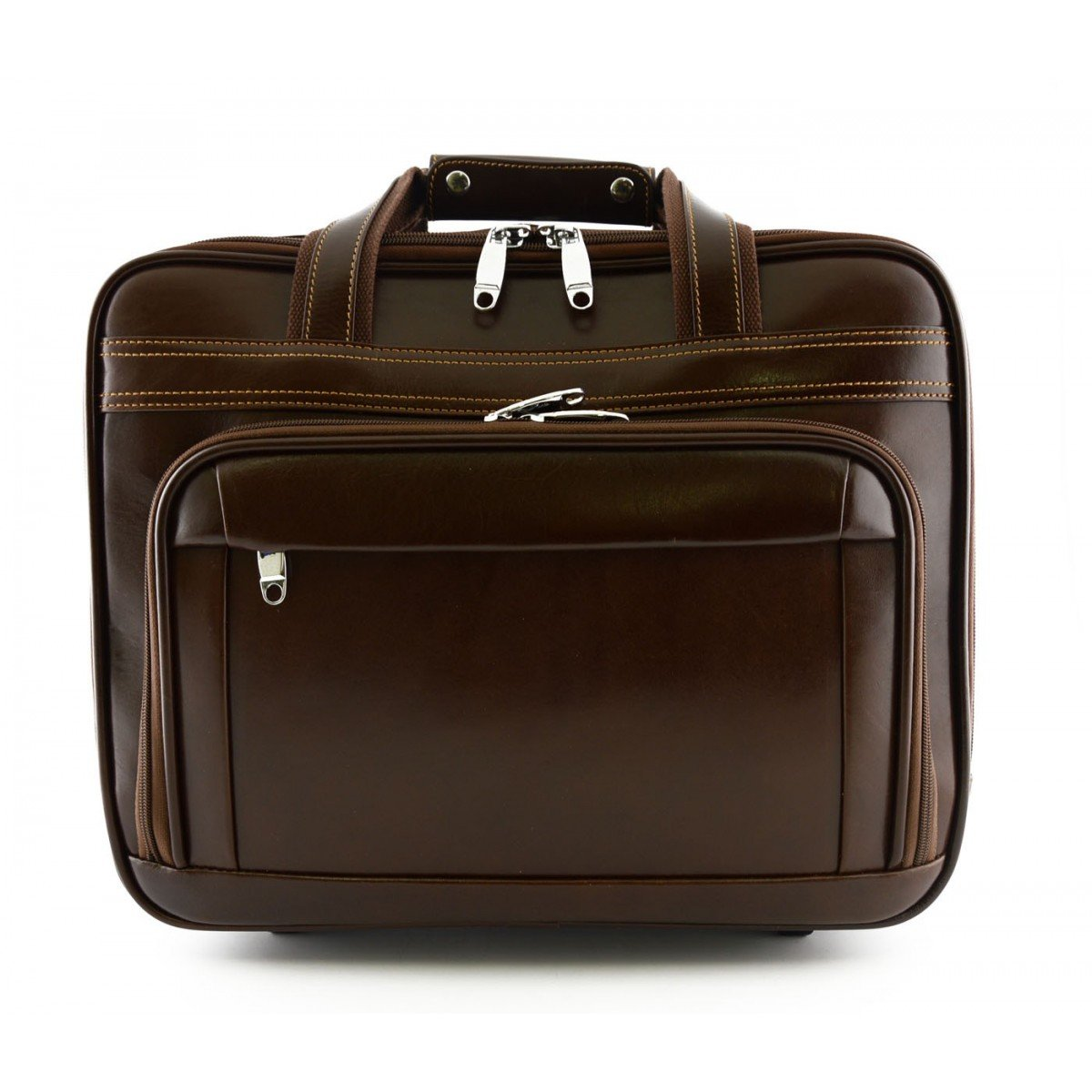 Made In Italy Leather Business Trolley With 3 Compartments Color Dark Brown - Travel Bag B01BM3JYC8