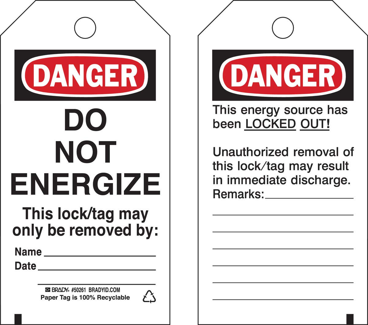 Brady 5 3/4'' X 3'' Black/Red/White Cardstock Tag''DO NOT ENERGIZE THIS LOCK/TAG MAY ONLY BE REMOVED'' by Brady USA (Image #1)