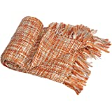 Battilo Rustic Style Acrylic Throw Blanket Measuring, Orange