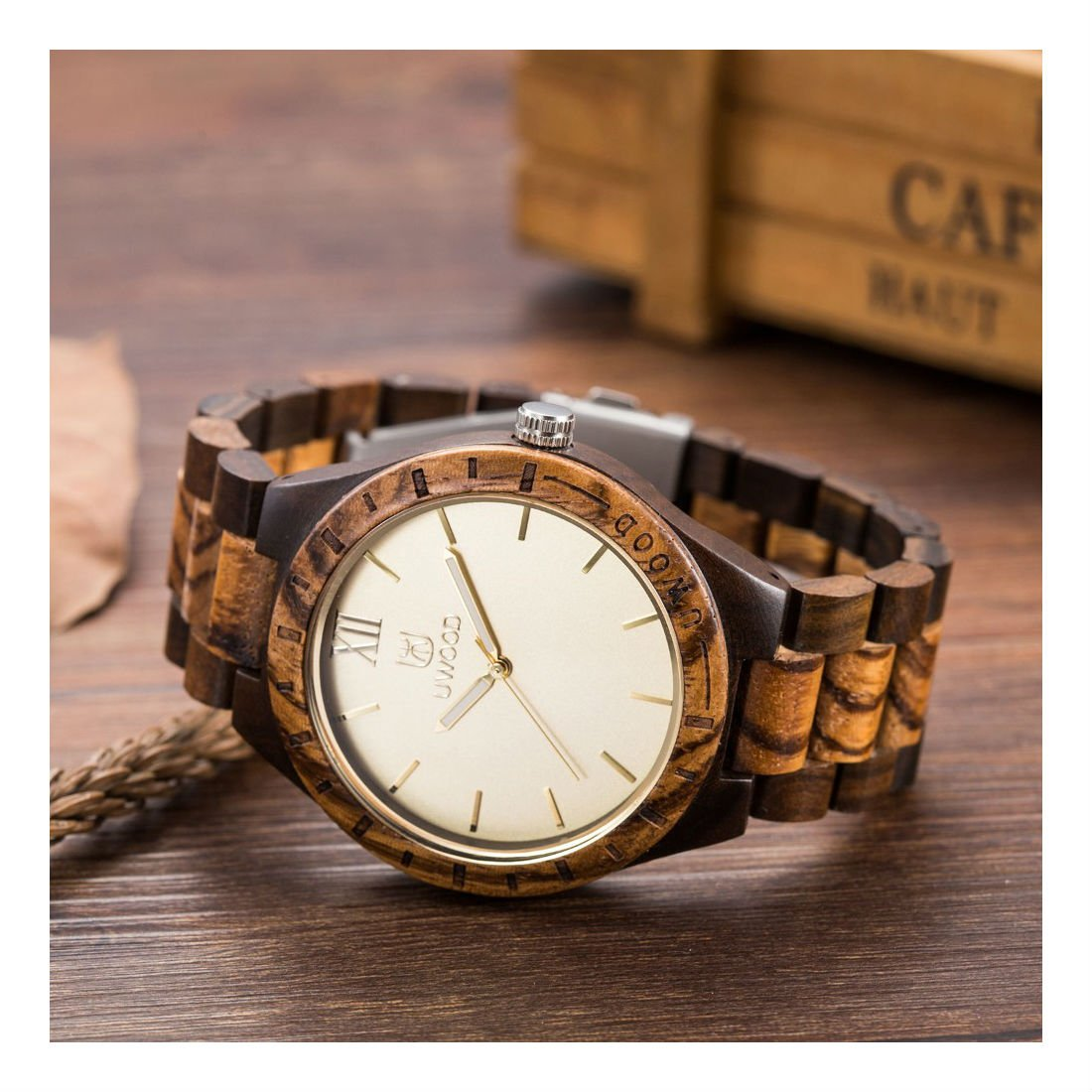 Mens Wooden Watches Classy Watch Solid Wood Gift for Men Relogio Masculino by Unknown (Image #2)