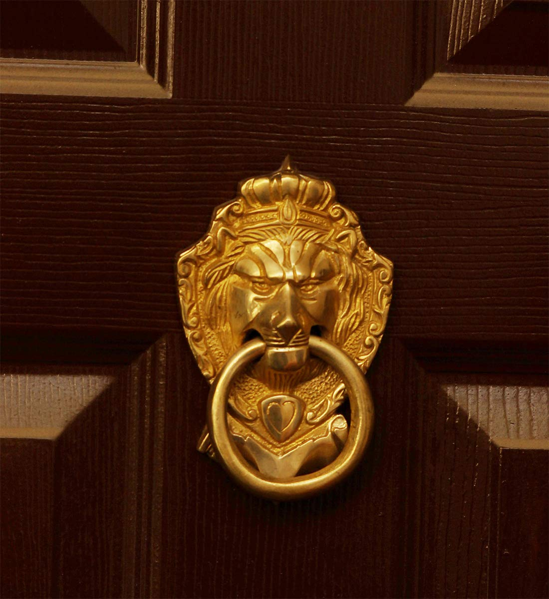 Today Sale on Crafkart King Lion Face Design Brass Door Knocker for Front Door | Vintage Style Pull Door Ring Handleset | Polished Brass by Crafkart (Image #3)