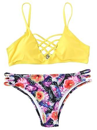 bacc3f5986 ROMWE Maillots de Bain 2 Pièces Bikini à Bretelle Bikini de Plage Push-up  Rembourré Piscine Jaune L: Amazon.fr: Vêtements et accessoires