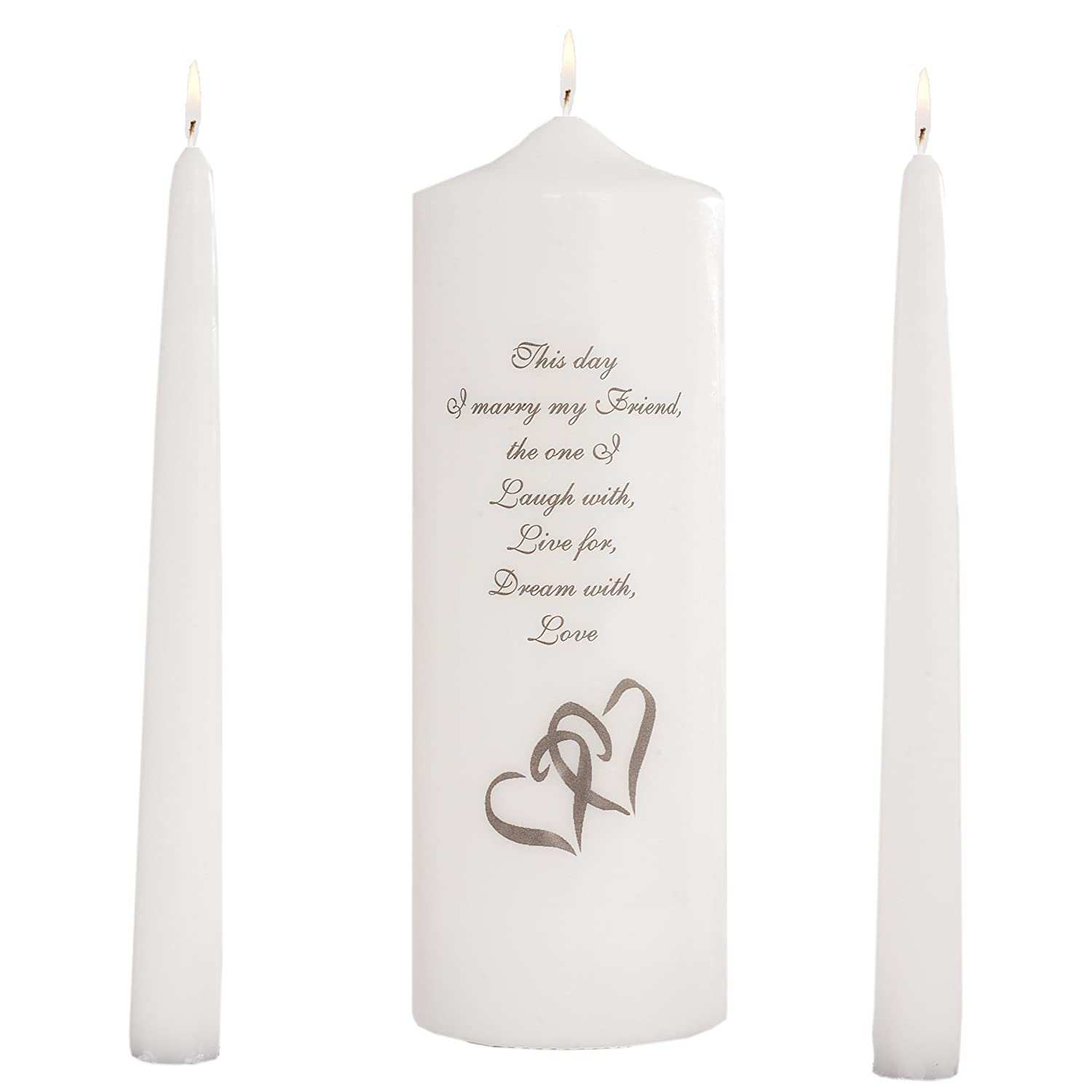 Celebration Candles Wedding Unity Candle Set, with 9-inch Pillar with Double Heart Motif andThis Day I Marry my Friend Verse, with 10-inch Taper Candles, White Inc. A-WSA01A